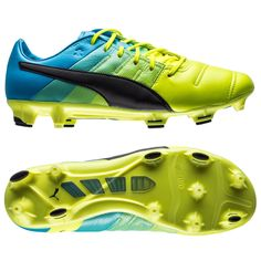 Puma evoPOWER 1.3 Leather FG Safety Yellow Black Atomic Blue 46a97f9428