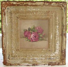 """Original Rustic Romance Painting  This is a 11x11 original Rustic romance painting of roses on a piece of very distressed vintage tin. Overall size is 24""""x24"""".  Christie Repasy Designs"""