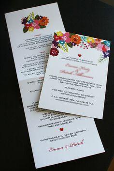 Inbjudningskort - BLOMSTER.  Wedding invitation - FLORAL DESIGN