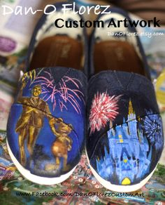 Limited Time Sale Disney World Magic Kingdom Cinderellas Castle and Walt Disney and Mickey Mouse Partners Statue Painted TOMS. $ 128.00, via Etsy.