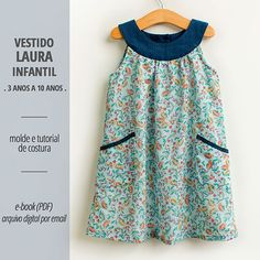 Vestido LAURA infantil - moldes e tutorial - PDF/digital – Costurinha Frock Patterns, Baby Girl Dress Patterns, Dress Sewing Patterns, Kids Dress Wear, Dresses Kids Girl, Kids Outfits, Toddler Dress, Baby Dress, Stylish Little Girls