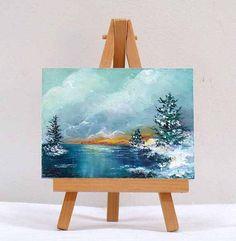 Winter snow scene 3x4, landscape, gift item, pine trees by valdasfineart on Etsy