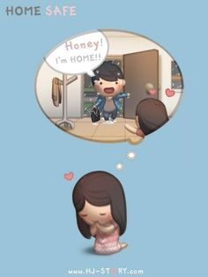 HJ-Story :: Home Safe - image giorni migliori arriveranno Hj Story, Cute Couple Cartoon, Cute Cartoon, Cute Love Stories, Love Story, Love Is Sweet, What Is Love, Ah O Amor, Cute Love Cartoons