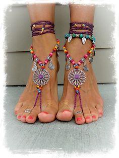 Magenta SUNFLOWER BAREFOOT Sandals Hippie Summer BIKINI sandals Toe Thongs Statement Ankle Wrap sandal crochet foot jewelry GPyoga