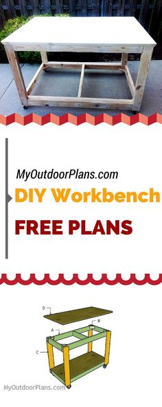 "Learn how to build a portable workbench using just 2x4s and 3/4"" plywood! Free workbench plans for you to make this nice project for your shop! myoutdoorplans.com #diy #woodworking"