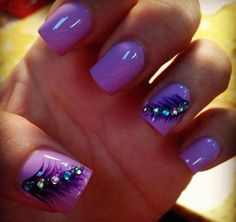 Purple Feather Nails with Beads on Top for Detail.