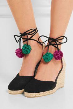 Castañer | Carina pompom-embellished suede wedge espadrilles | NET-A-PORTER.COM