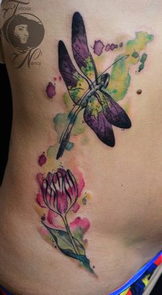 dragonfly watercolor tattoo