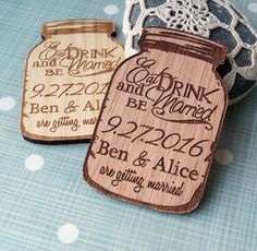 Personalized wooden Save the Date magnets, mason jar save the dates, custom laser engraved save the date magnets. This is a set of 25 mason jar save the date magnets. You can choose the wood - please see the last picture of the listing. We offer these magnets made from - beech -
