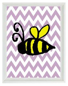 Bumble Bee Chevron Nursery Wall Art Print  - Children Kid Baby - Wall Art Home Decor 8x10 Prints