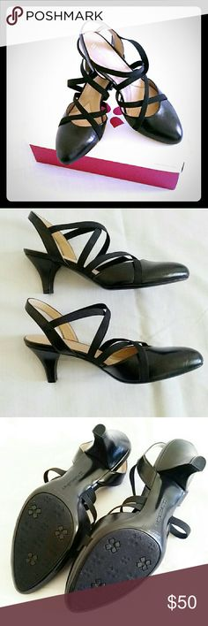 🆕Naturalizer heels **NIB Stylish Naturalizer black low heels.  Brand new in the original box, never worn. Size 8W. Comfort support expected from the brand. Elastic straps. ****FREE GIFT WITH FULL PRICE PURCHASE ONLY (Not applicable with offers) Naturalizer  Shoes Heels