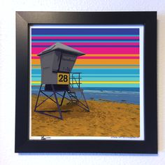 "Gallery: Pop series ""Sunset at Pacific Beach"" (2015) 12 x 12 inch, digital art- Giclee print on enhanced matte paper with glass framed. Stain black, 14 x 14 inch. Signed by Jon Savage --------------------------------------- #art #artist #popart #popartist #digitalart #contemporary #contemporaryart #cmyk #pacificbeach #sandiego #california #sunset #beach #lifeguard #tower #jonsavagegallery"