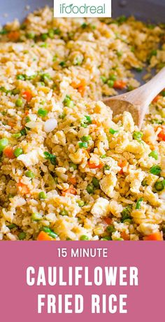 Super easy 15 minute Cauliflower Fried Rice Recipe with fresh or frozen cauliflower. It is SO TASTY my kids thought it was real rice. #healthy #cauliflower #recipe #lowcarb #keto #dinner