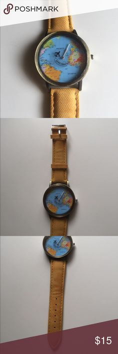 """📣 NEW LISTING! 📣 Mini World Map Watch 📣 Bundles 2 for 20%! 📣 Super cute watch with a world map as the face. A little plane flies are as the second hand with the saying """"mini world"""". Bought it as a gift but ended up going with something different. The band is a really pretty yellow that matches with some of the countries in the face. Happy to answer any questions! Accessories Watches"""