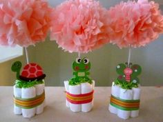 Small Diaper baby shower centerpieces