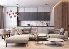 Kuchnia połączona z salonem w małym mieszkaniu