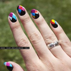 Here are some hot nail art designs that you will definitely love and you can make your own. You'll be in love with your nails on a daily basis. Hot Nails, Hair And Nails, Uñas Fashion, Geometric Nail Art, Nail Polish Art, Trendy Nail Art, Fabulous Nails, Creative Nails, Cool Nail Designs