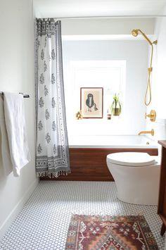 vancouver mid century bathroom with modern bath mats midcentury and honeycomb tile teak