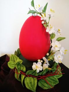 Easter Easter egg decorated with gumpaste blossom and pilea Egg Crafts, Easter Crafts, Diy And Crafts, Crafts For Kids, Easter Bunny Eggs, Easter Cake, Log Decor, Easter Flower Arrangements, Rabbit Cake