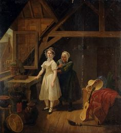 An Interior scene with a maid lacing a lady into a corset by Constantinus Fidelio Coene. 1841