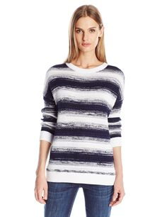 Women's Small White Stripe Vince Pullover Weekend Marineoptic A Ombre Blue F0w7xP