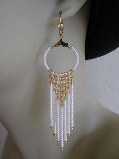 Seed Bead Chain Hoop Earrrings Pearl Cream by pattimacs on Etsy