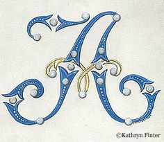 Typography - Alphabet Manuscript Illumination by Kathryn Finter - Letter A Fancy Letters, Monogram Letters, Letters And Numbers, Alphabet Art, Letter Art, French Alphabet, Creative Lettering, Lettering Design, Calligraphy Letters