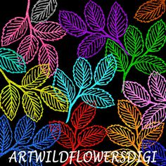 35 Glitter Leaves ClipArt Leaf Set  by ArtWildflowersDigi on Etsy