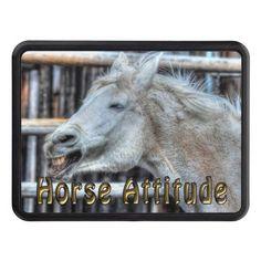 Funny Happy White Ranch Horse Attitude Equine Hitch Cover