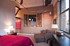 chambre coucher petite fenetre ouverte sur salon