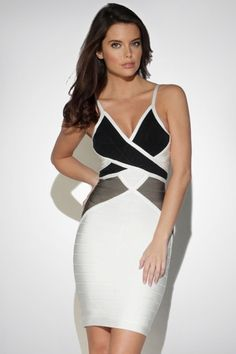 White Stylish Patchwork Wrap Ladies Bandage Dress - PINK QUEEN women's fashion dresses