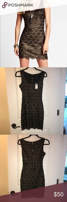 """Guess Gold and Black Scalloped Fringe Dress Guess Gold and Black Metallic Scalloped Fringe Dress, size 2. NWT. Never been worn. No flaws. Approx 33"""" in length. Exposed gold back zipper. Guess Dresses"""