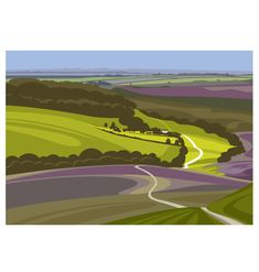 THE HOLE OF HORCUM - North York Moors National Park One of a series of Limited Edition Yorkshire Countryside Linescapes. My approach to digital Landscape Drawings, Abstract Landscape, Landscape Paintings, Landscapes, Landscape Design, Brainstorm, Easy Canvas Painting, Travel Posters, Printmaking