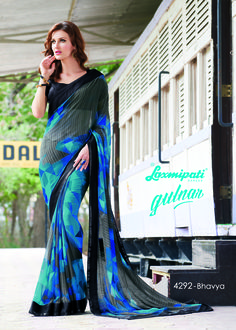 Mesmerize everyone with your wonderful conventional look by draping this Multicolor Designer Georgette Saree along with Black Colour Brocade Blouse with Sequence Border. 100% genuine products guaranteed. Limited Stock! #Catalogue #GULNAR Price - Rs. 2346.00 #GaneshChaturthi #Ganesh #monsoon #Shopping #Shoppingday #ShoppingOnline #fashionstyle #ReadyToWear #OccasionWear #Ethnicwear #FestivalSarees #Fashion #Fashionista #Couture #Laxmipa