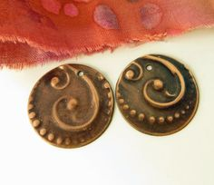 X-Large Round Swirl Embossed Copper Earring Dangles  by Metapolies on Etsy  $15.