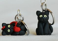 Black Cat Stitch Markers (Set of 4) (18.00 USD) by weeones