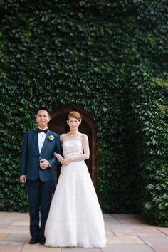 Elegant bride and groom portrait--could be outside or inside.