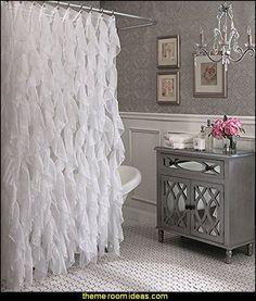 glam bathroom decorating Cascade Shabby Chic Ruffled Sheer Shower Curtain