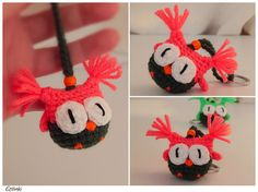 NEON gift - Coral red key chain with owl, bright hoot owl, woman key ring, vivid color owl keychain, electric neon fashion, cool purse charm