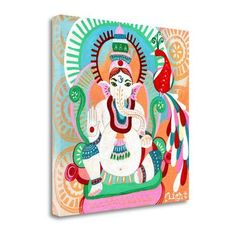 Tangletown Fine Art 'Ganesh of Flight' by Jessica Swift Painting Print on Wrapped Canvas