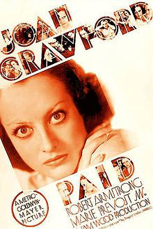 Paid is a 1930 American drama film starring Joan Crawford, Robert Armstrong, and Kent Douglass in a story about a wrongly accused ex-convict who seeks revenge, within the law, on those who sent her to prison. The film was adapted by Lucien Hubbard and Charles MacArthur from the play, Within the Law by Bayard Veiller. The film was directed and produced by Sam Wood.