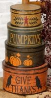 """Primitive Folk Art Halloween Paper Mache Nesting Boxes - """"Give Thanks"""" Stacking Boxes. 4 Nesting boxes with lids Feature a Pumpkins and """"Give Thanks"""" .Add them to your Thanksgiving decorations for a festive look. Paper. Set of four. 16 """"H Largest - 5"""" H x 9 """" dia."""