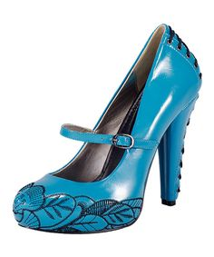Take a look at this Turquoise Floral Stitch Lace-Up Pump on zulily today!