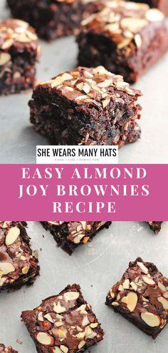Almond Joy Brownies, Cookie Bars, Bar Cookies, Brownie Recipes, Dessert Bars, Almonds, Super Easy, Sweet Tooth, Food And Drink