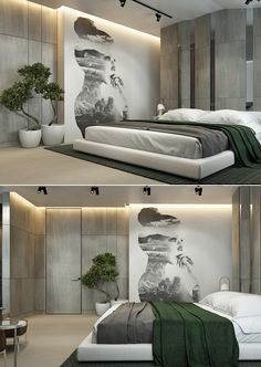 Beautiful Places - homedesigning: (via A Moscow House Uses Texture. Luxury Bedroom Design, Bedroom Bed Design, Modern Bedroom Decor, Bedroom Colors, Home Bedroom, Small Room Design, Home Room Design, Home Interior Design, Minimalist Bedroom