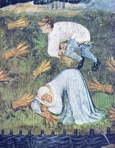 August detail - Binding the cut corn to sheaves  Cycle of frescos of the twelve labors of the months Trento (Italy), Castello del Buonconsiglio, Torre del'Aquila  Artist: otherwise unknown Master Wenceslas of Bohemia Date: after 1397