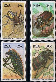 South Africa 1987 African Beetles Set Fine Mint                    SG 612 5 Scott 690 3          Condition Fine MNH    Only one post charge applied