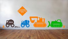 Personalized Construction Zone - Boys Room - Play Room - Construction Decals