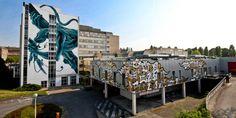 Le site de We Art Urban à Lagny-sur-Marne avec la fresque en bleu et noir de Panterio et les spaghettis de Legz au premier plan.