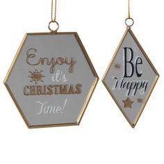 Déco de Noël miroirs dorés à suspendre